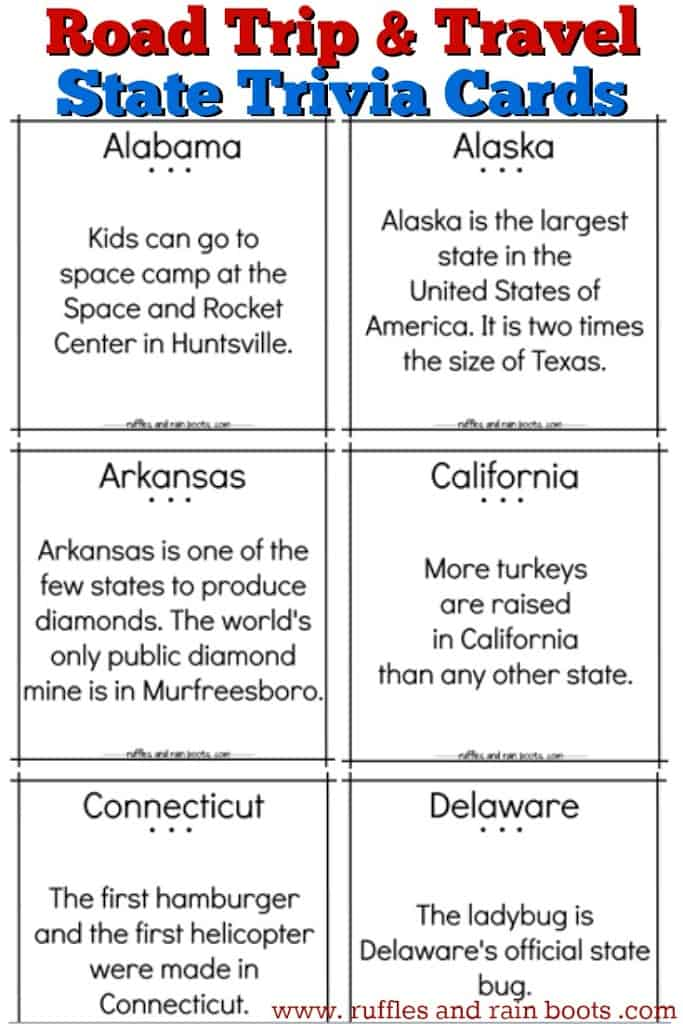Free printable for fun state trivia cards - great for road trips and family travel countdowns