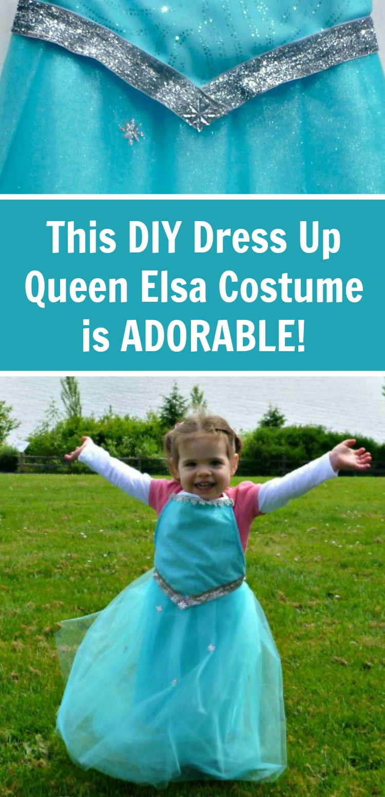 Make this beginner tutorial for a DIY Queen Elsa Costume from Disney's Frozen. It's so stinking cute! #Frozen #Elsa #rufflesandrainboots #costumes