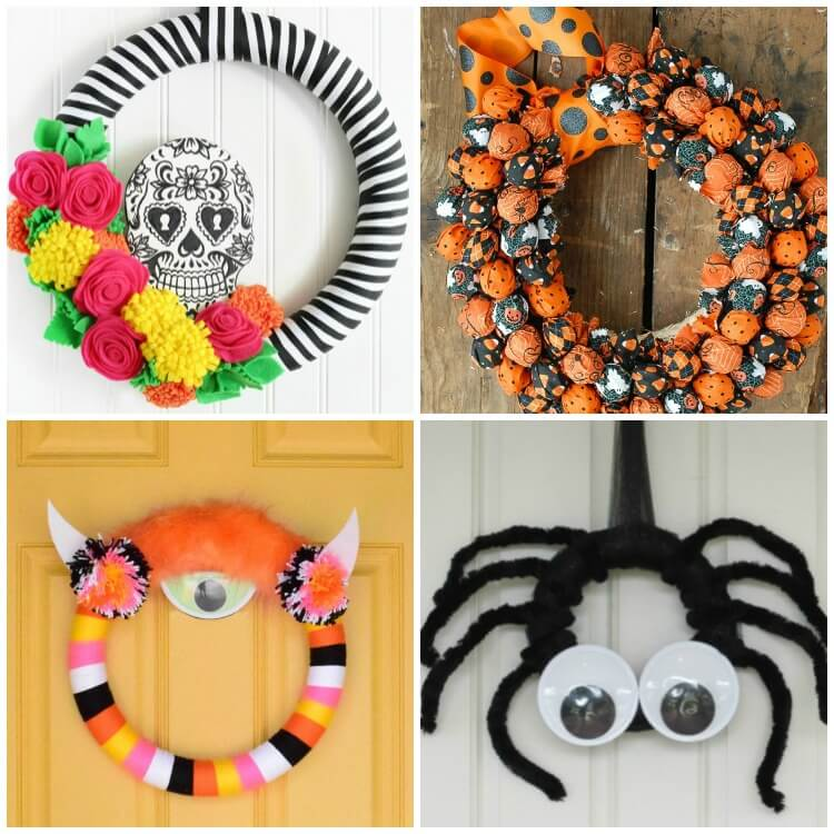 a photo collage of 4 Halloween party wreath ideas