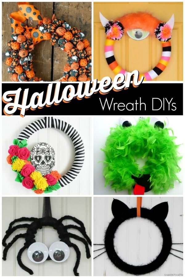 collage of Halloween party wreath ideas with the text Halloween wreath DIYs