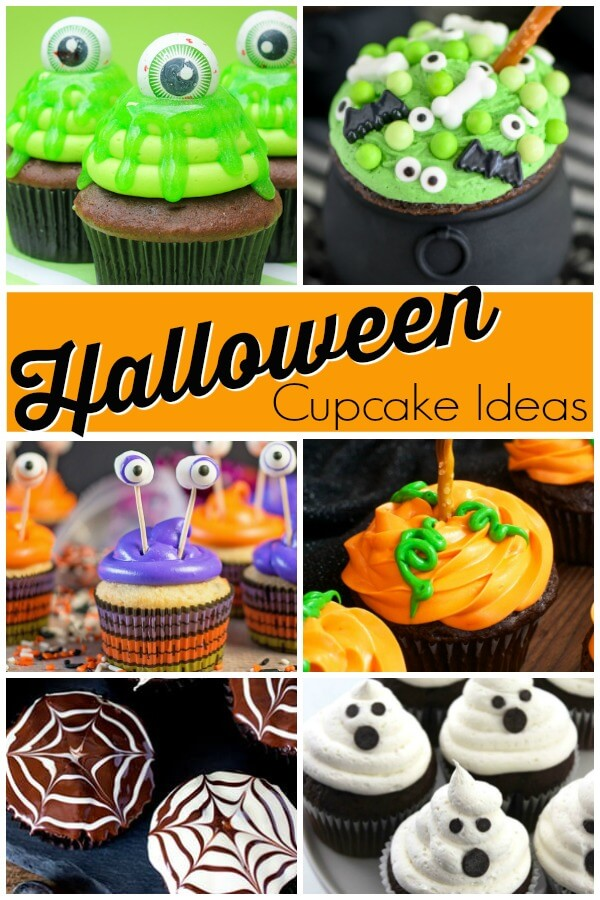 photo collage of Halloween party cupcake ideas with text which reads Halloween cupcake ideas
