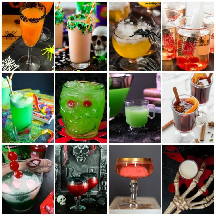 photo collage of 12 halloween party cocktails and mocktails