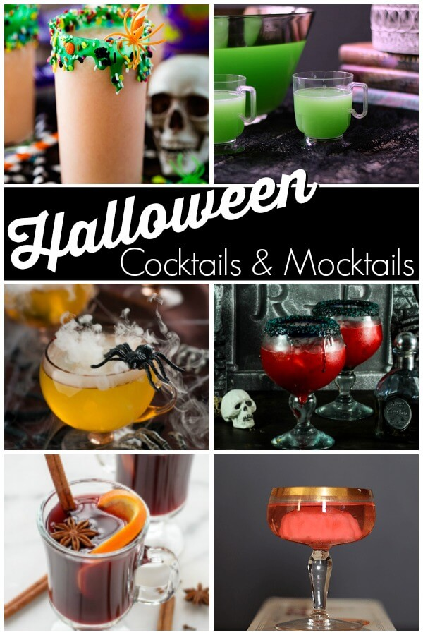photo collage of 12 Halloween drinks and text which reads Halloween cocktails and mocktails