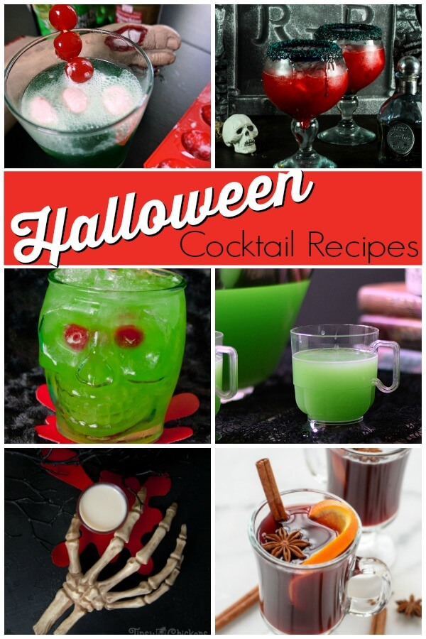 photo collage of 12 drinks with text Halloween cocktail recipes