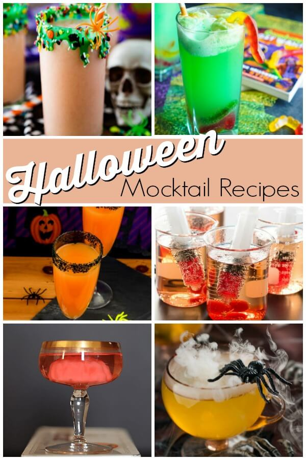 photo collage of drinks with text which reads Halloween mocktail recipes