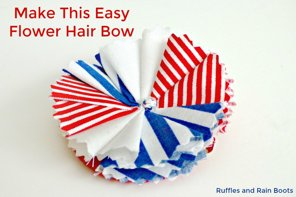 Independence Day Memorial Day 4th of July DIY Fabric Easy Flower Hair Bow