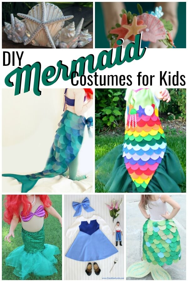 a photo collage of adorable mermaid costumes to make yourself with text that reads DIY mermaid costumes for kids