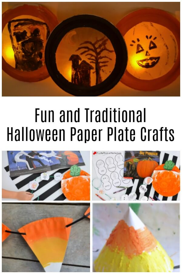 collage of luminaries and other paper plate crafts with text that reads Fun and Traditional Halloween paper plate crafts