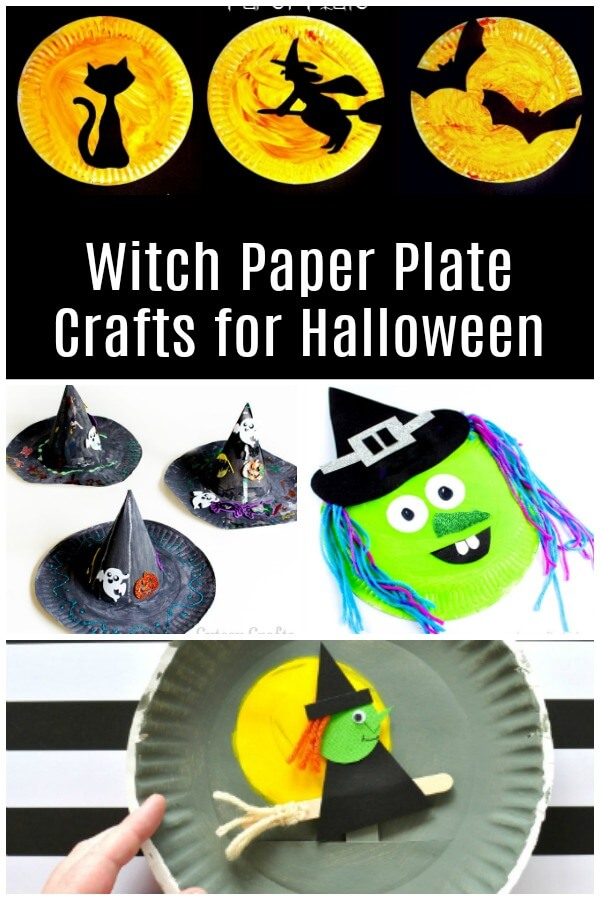 collage of witch paper plate crafts with text witch paper plate crafts for Halloween