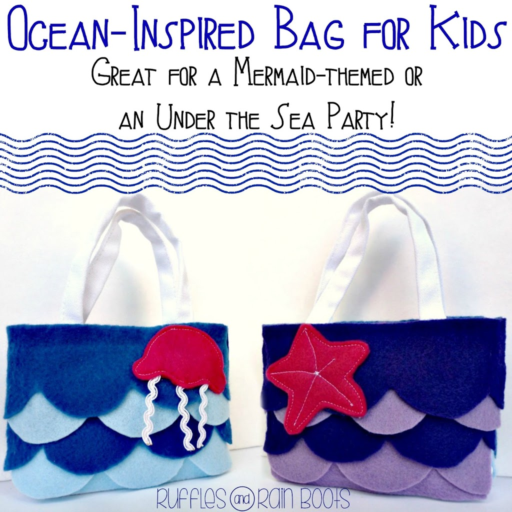 Ocean-themed felt kid's bag from Ruffles and Rain Boots