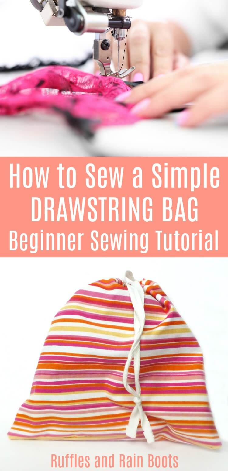 Learn how to make an easy drawstring bag for sewing beginners. It's quick to come together and can be sized for anything and everything. #sewingtutorial #beginnersewing #bagtutorial #organization #sewing #rufflesandrainboots