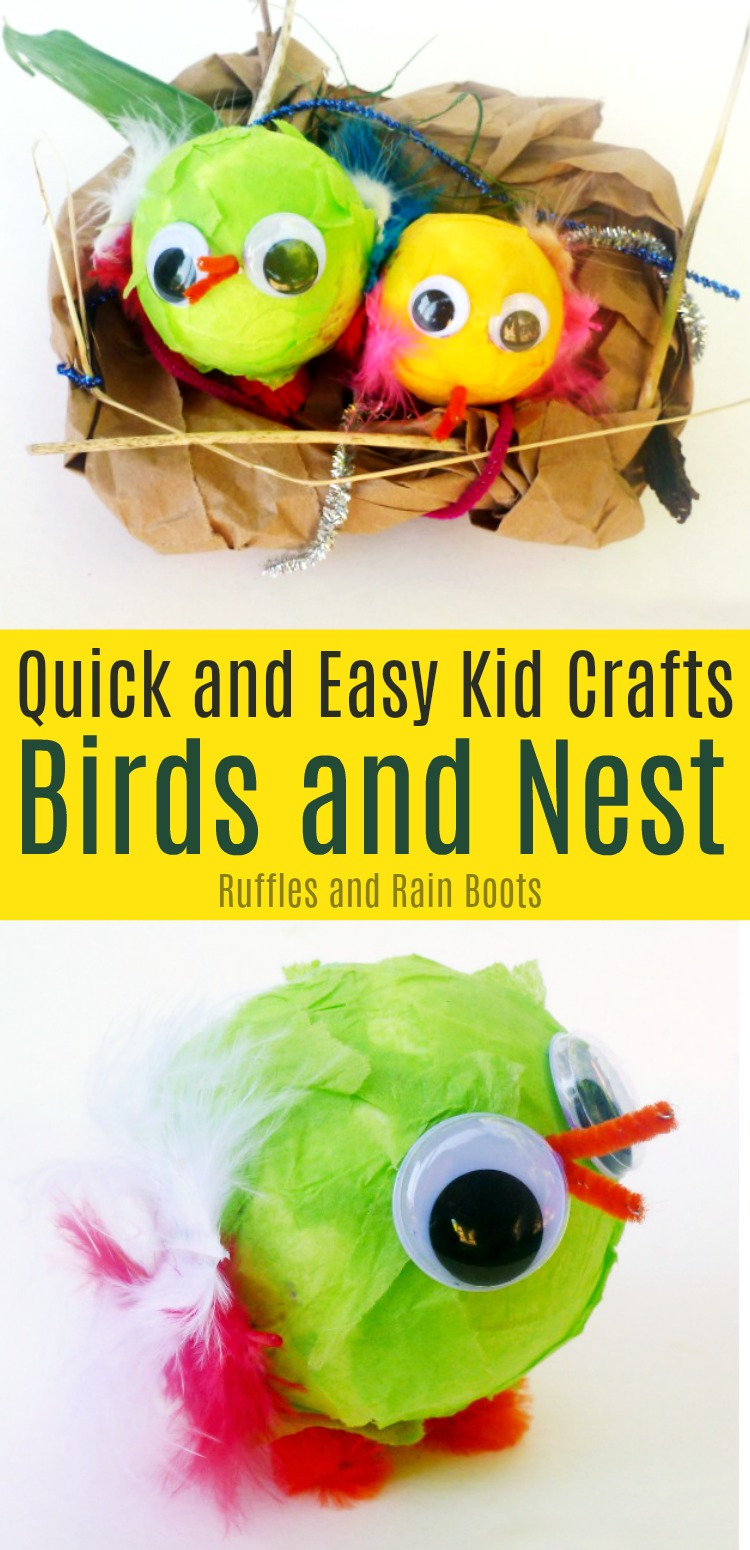 Set up this quick birds and nest craft for kids. It's great for pretend play (and rainy days) because it uses whatever craft supplies you have on hand. Great for fine motor work, too! #birds #springcraft #kidscrafts #craftsforkids #birdcrafts #birdnest #finemotor #rufflesandrainboots