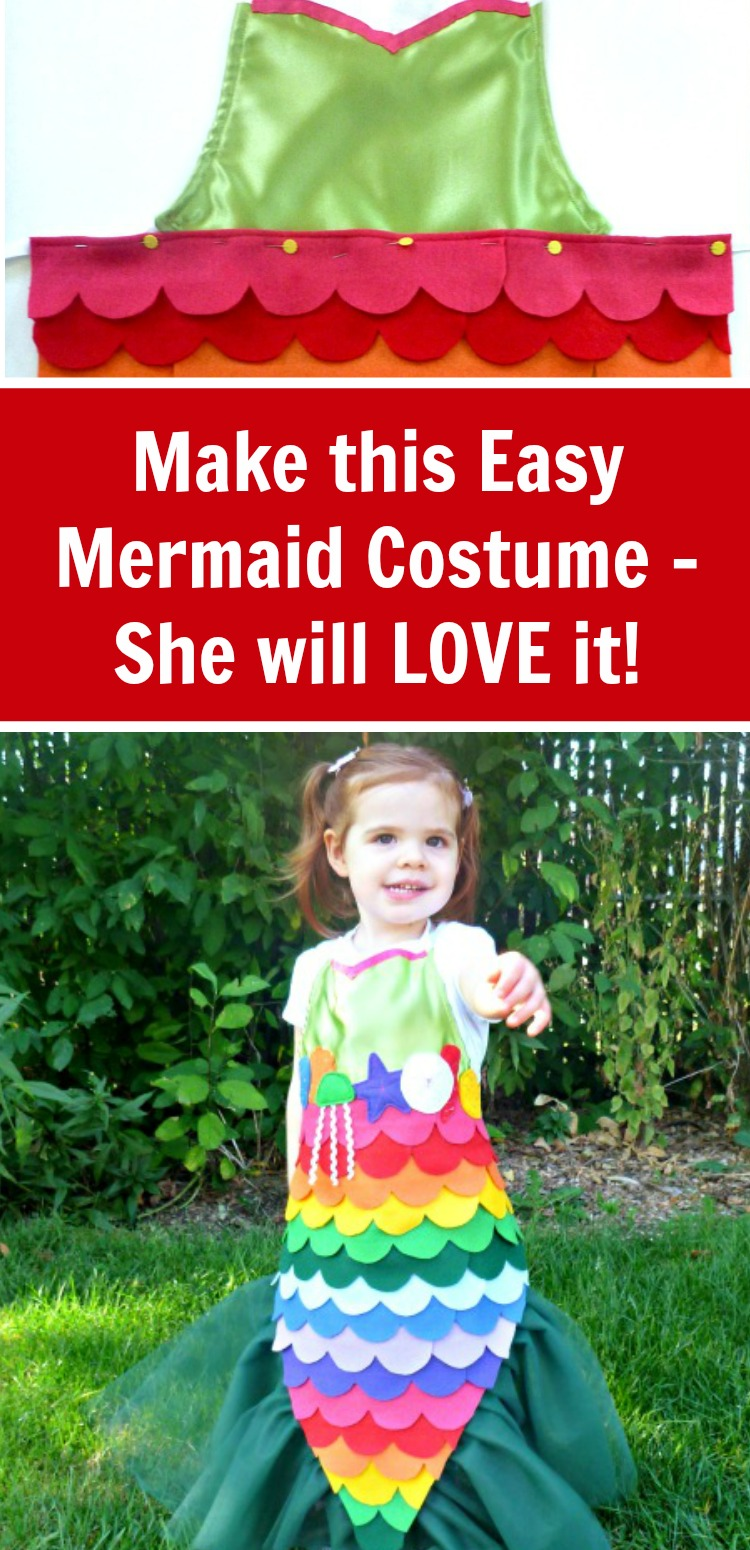 Make this easy DIY mermaid dress up costume. It comes with a free pattern and step by step instructions (there's also a hot glue version). #rufflesandrainboots #dressup #costumes #mermaids
