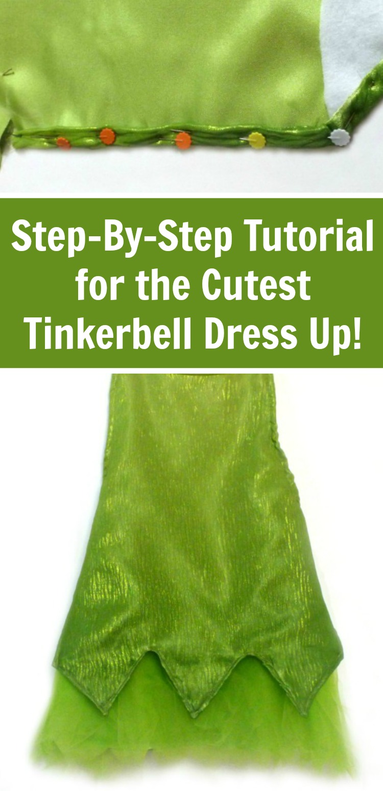 This cute Tinkerbell costume is easy for any beginner. It has step by step pictures and instructions - it makes it so simple! #tinkerbell #disney #costumes #rufflesandrainboots