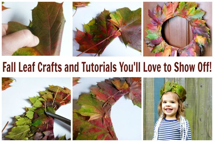 These fall leaf crafts will capture the beauty of the season. Let's make a wreath, a crown, and so many more fall craft tutorials together. #fall #leafcrafts #fallwreath #leafcrown #dressup #rufflesandrainboots