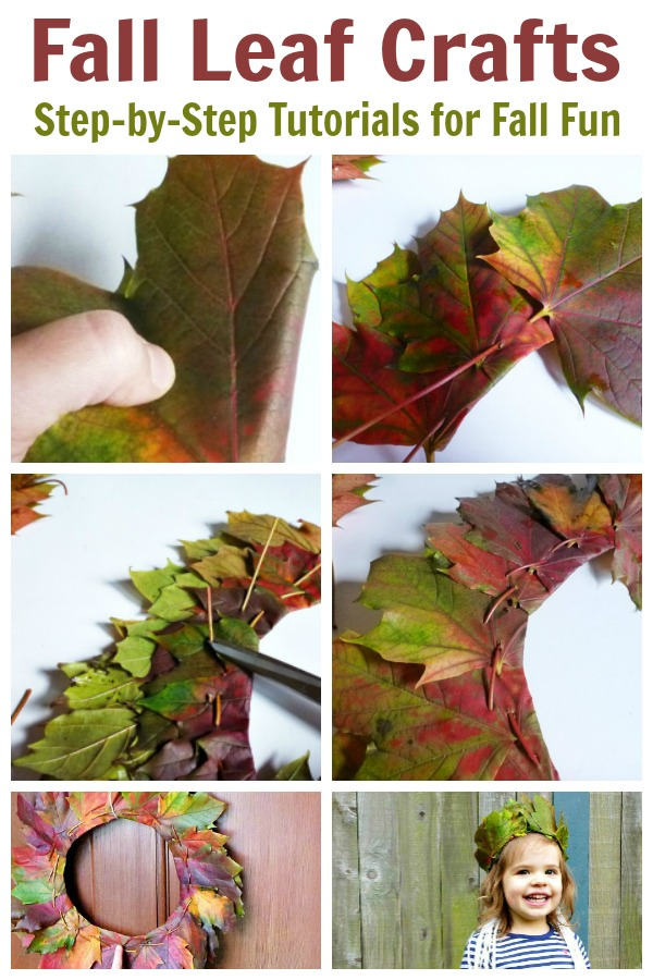 These fall leaf crafts include tutorials for leaf crowns and leaf wreaths. You will not believe how easy it is to weave Fall leaves. #fallcrafts #diyfall #falldecor #fallhomedecorations #rufflesandrainboots