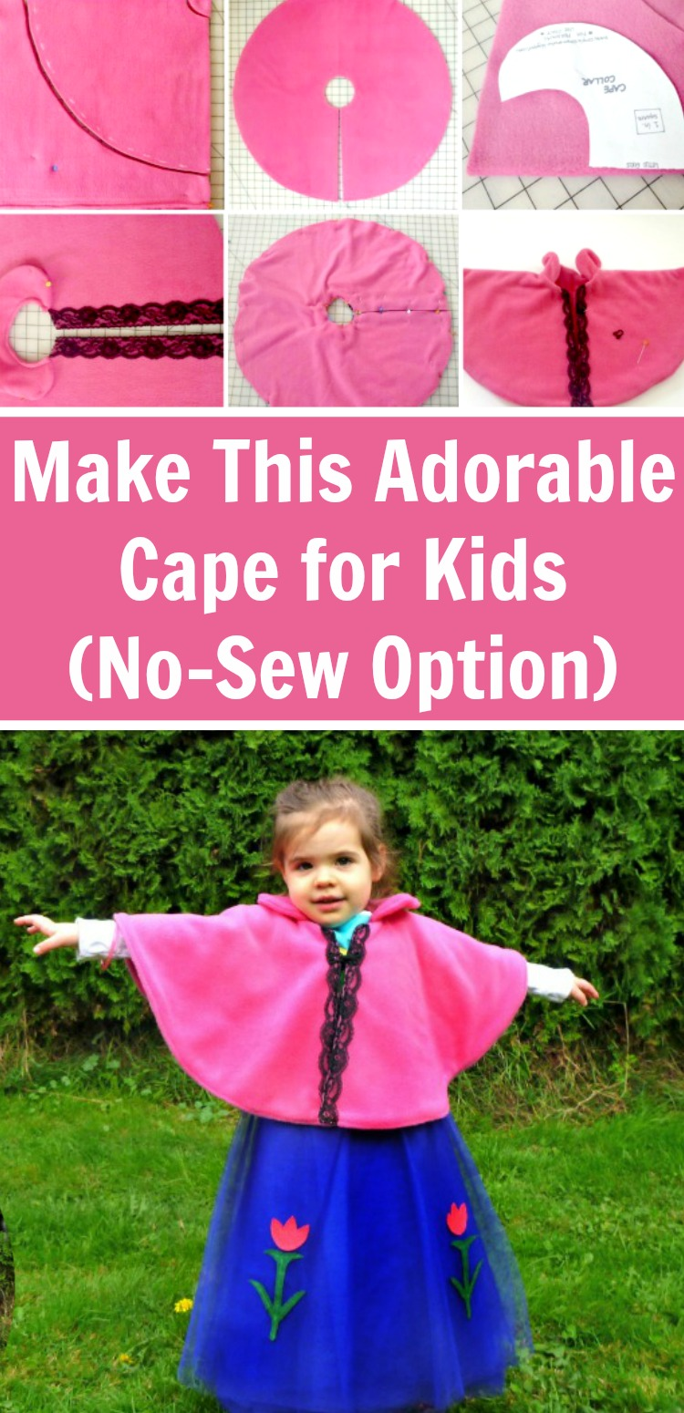 Make this super simple - and very adorable - cape for kids. There is a no-sew option and a beginner sewing tutorial (psst: it's so easy)! #rufflesandrainboots #dressup #costumes #sewingtutorial