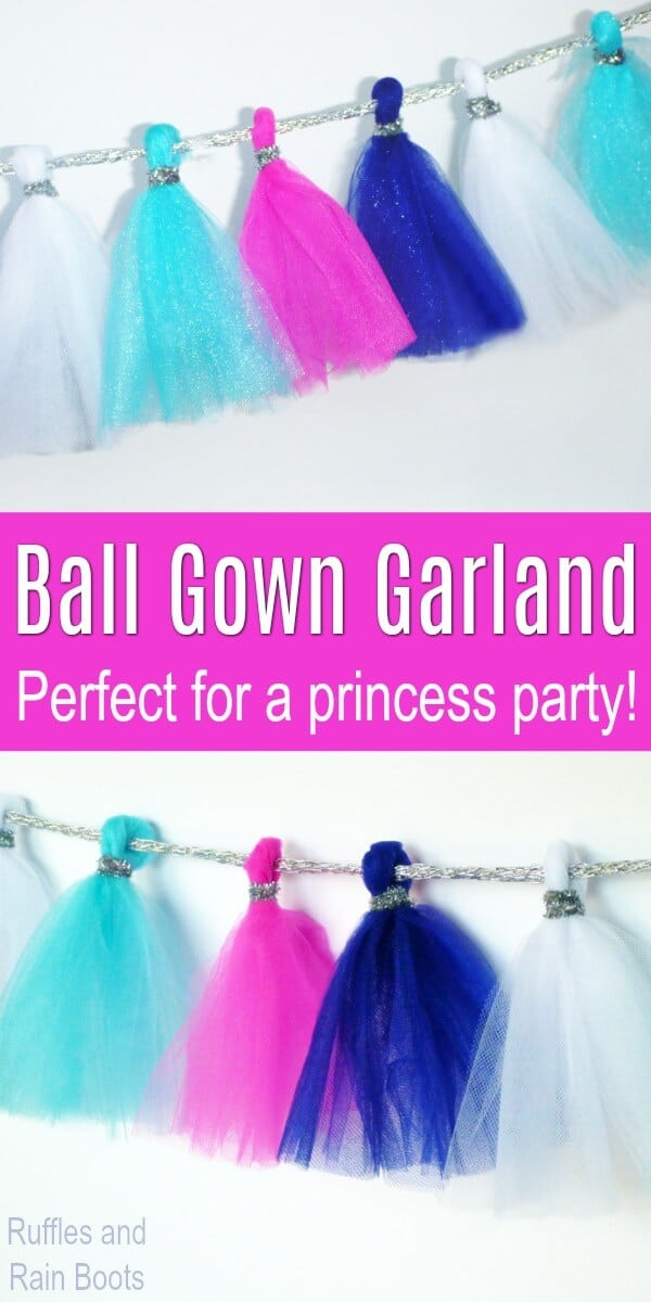 This princess party idea - a tulle garland known as a ball gown garland - will be a hit! It took about 15-minutes to make and looks amazing. #tulle #diy #garland #princessparty #Disneyprincess #partydecor #princesspartyideas #rufflesandrainboots