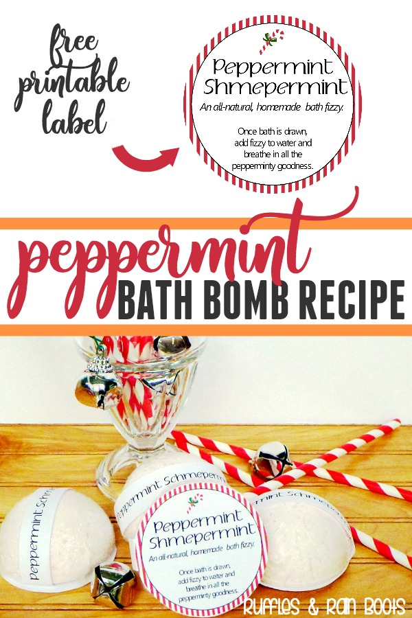Make these Peppermint Bath Bombs with natural ingredients for your self or as gifts. #Peppermint #bathbomb #beautyrecipes #diybeauty #essentailoils #EOs #rufflesandrainboots