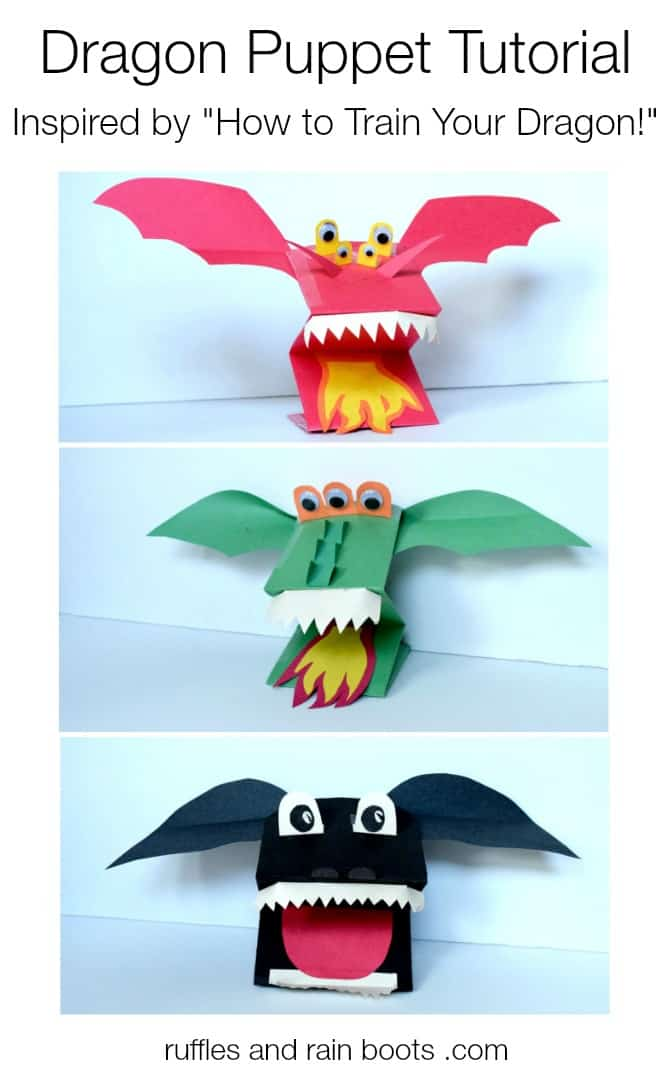 Easy Paper Dragon Puppets kids can make on their own (inspired by How to Train Your Dragon) #rufflesandrainboots #dragon #dragoncraft #howtotrainyourdragon #toothless