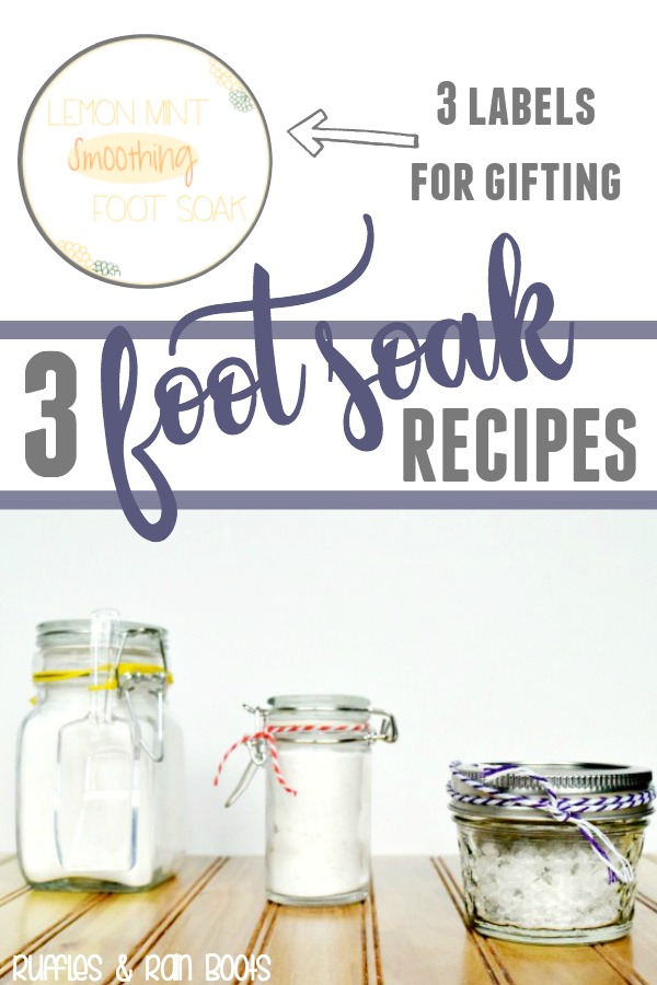 Get these 3 foot soak recipes for self-care or handmade holiday gifting. #DIYbeauty #DIYChristmas #handmadeholidays #essentialoils #footsoak #bathrecipe