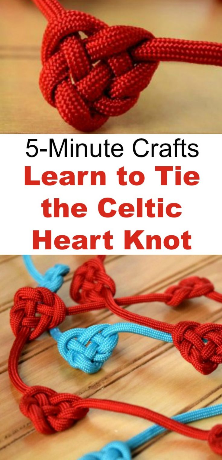 Follow this simple tutorial and learn to tie the Celtic Heart Knot into a garland, bracelet, package decoration, or just for a fun, 5-minute craft! Click through to get the easy tutorial with only 1 supply. #celticknot #garland #valentinesday #giftwrapping #rufflesandrainboots