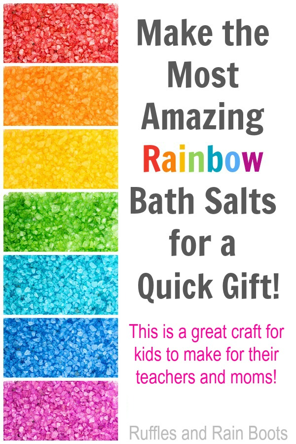 Rainbow bath salts DIY for teacher gifts and Mothers day #rainbow #rainbowcrafts #diyproject #teacherappreciation #teachergift #mothersday #bathsalts #diybeauty #rufflesandrainboots