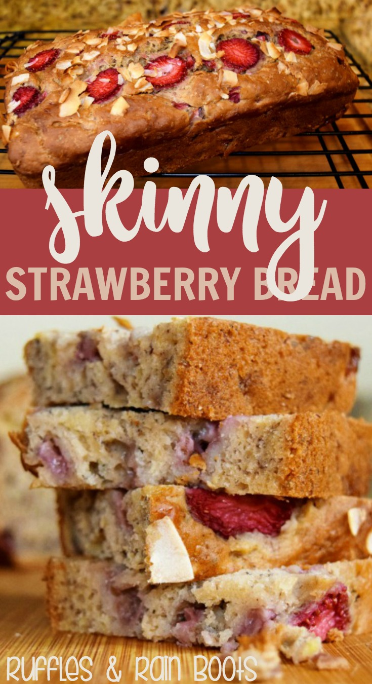 This skinny strawberry banana bread recipe is sure to please the pickiest of eaters! #bread #breadrecipe #strawberryrecipe #strawberry #rufflesandrainboots