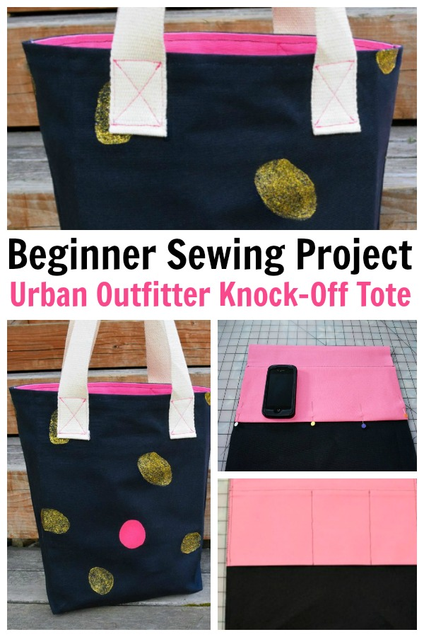 Make this Urban Outfitter knock off tote bag by following this step-by-step beginner sewing tutorial. #urbanoutfitters #knockoffprojects #sewingtutorials #beginnersewing #sewingprojects #rufflesandrainboots