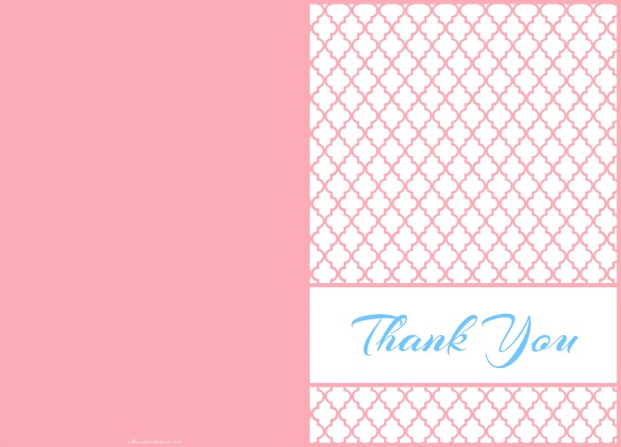 Free Thank You card printable Modern Quatrefoil Moroccan Design