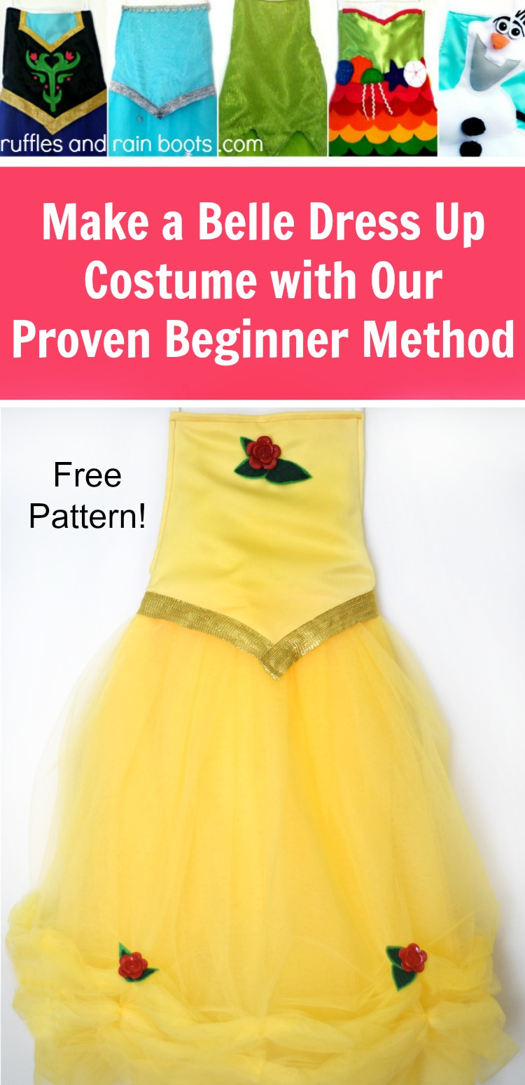Make a Belle dress up costume with this free pattern and proven beginner method. You can make this for pretend play or Halloween! #costumes #dressup #beautyandthebeast #ruffflesandrainboots