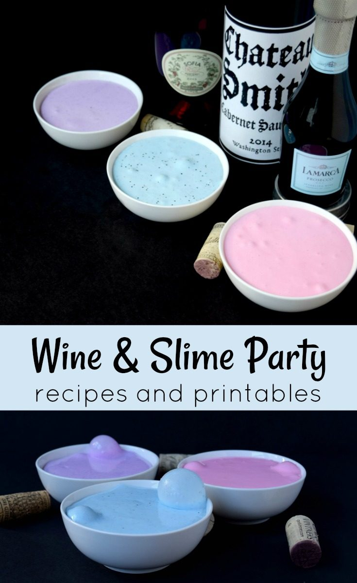 Click through to set up this fun wine and slime party for adults. It include slime recipes and printable wine party table tents. #slime #wineparty #rufflesandrainboots