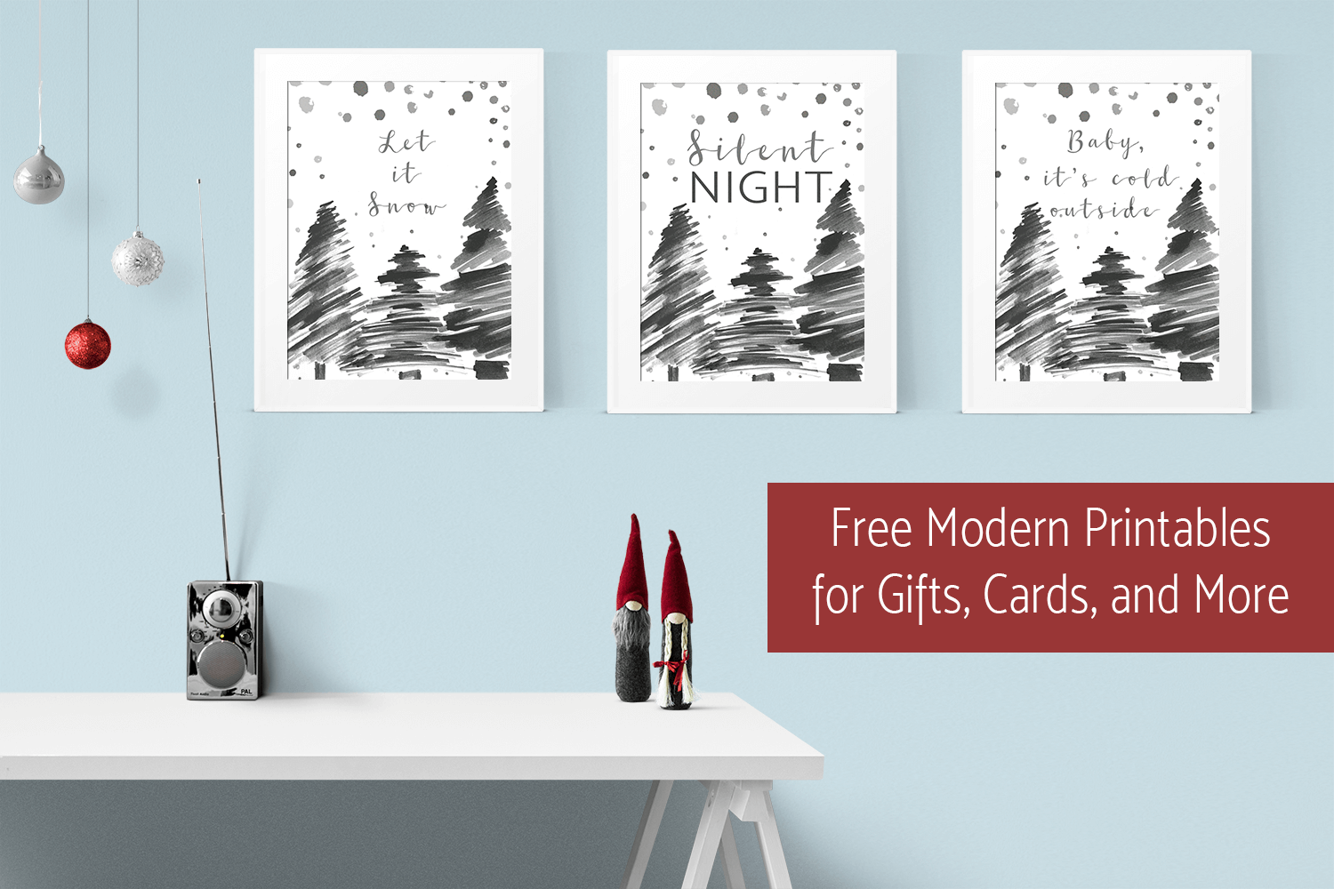 Get these free modern Christmas printables for cards, invitations, home decor, or gifts!