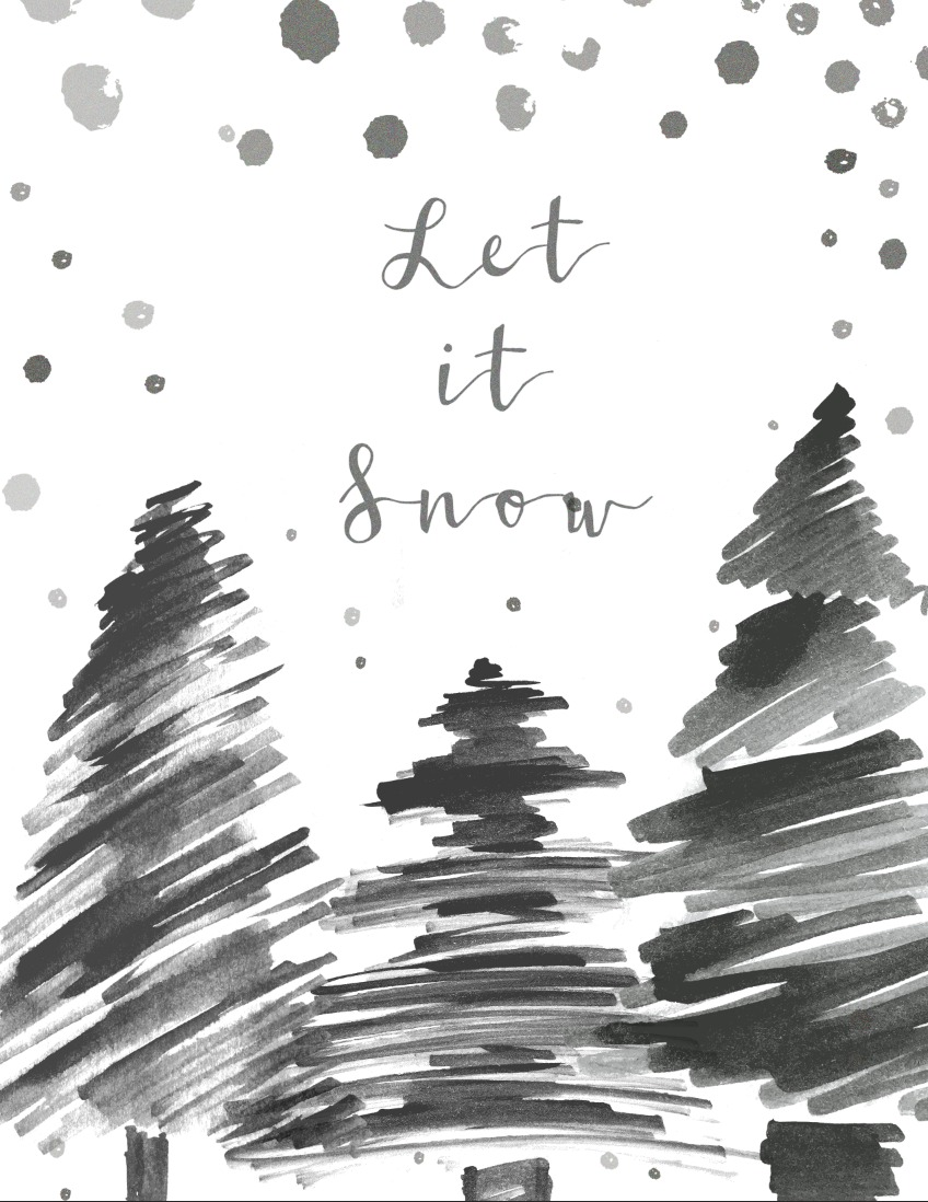 Free Christmas Printable Let It Snow Modern Design