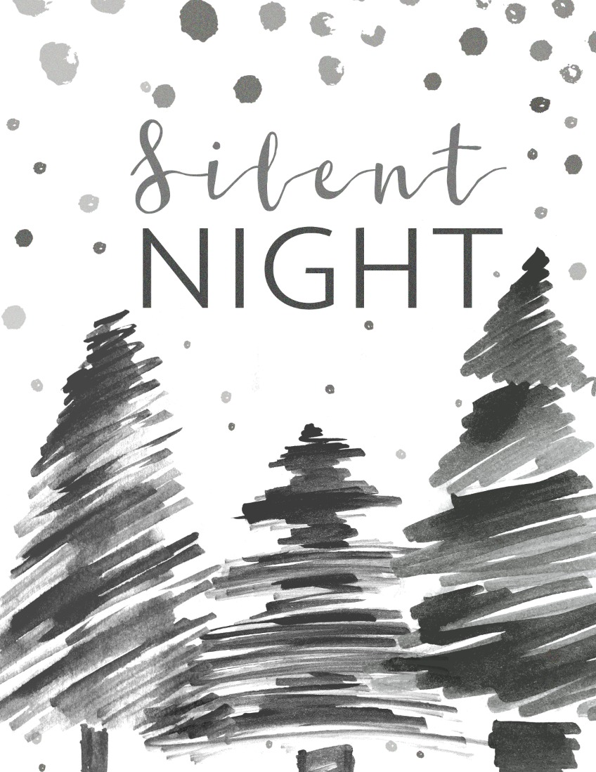 Free Silent Night Printable for Christmas and Holiday Season Decor