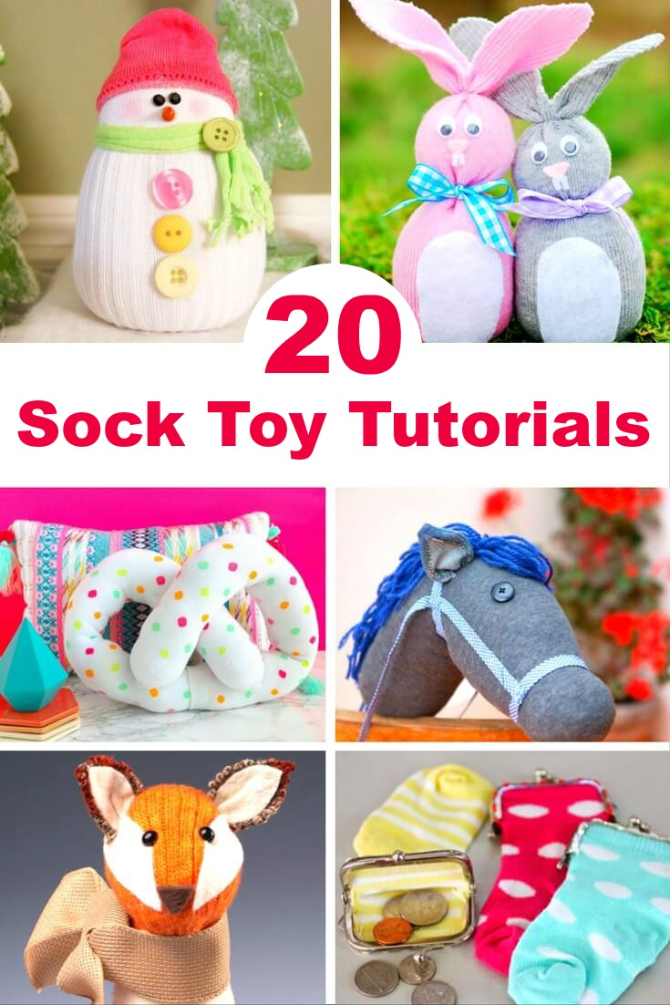 Here are 20 of the cutest and easy-to-make DIY sock toys out there. Some of these tutorials can be done in just 5-minutes! Grab your socks... #craft #DIY #socktoy #christmas #gifts