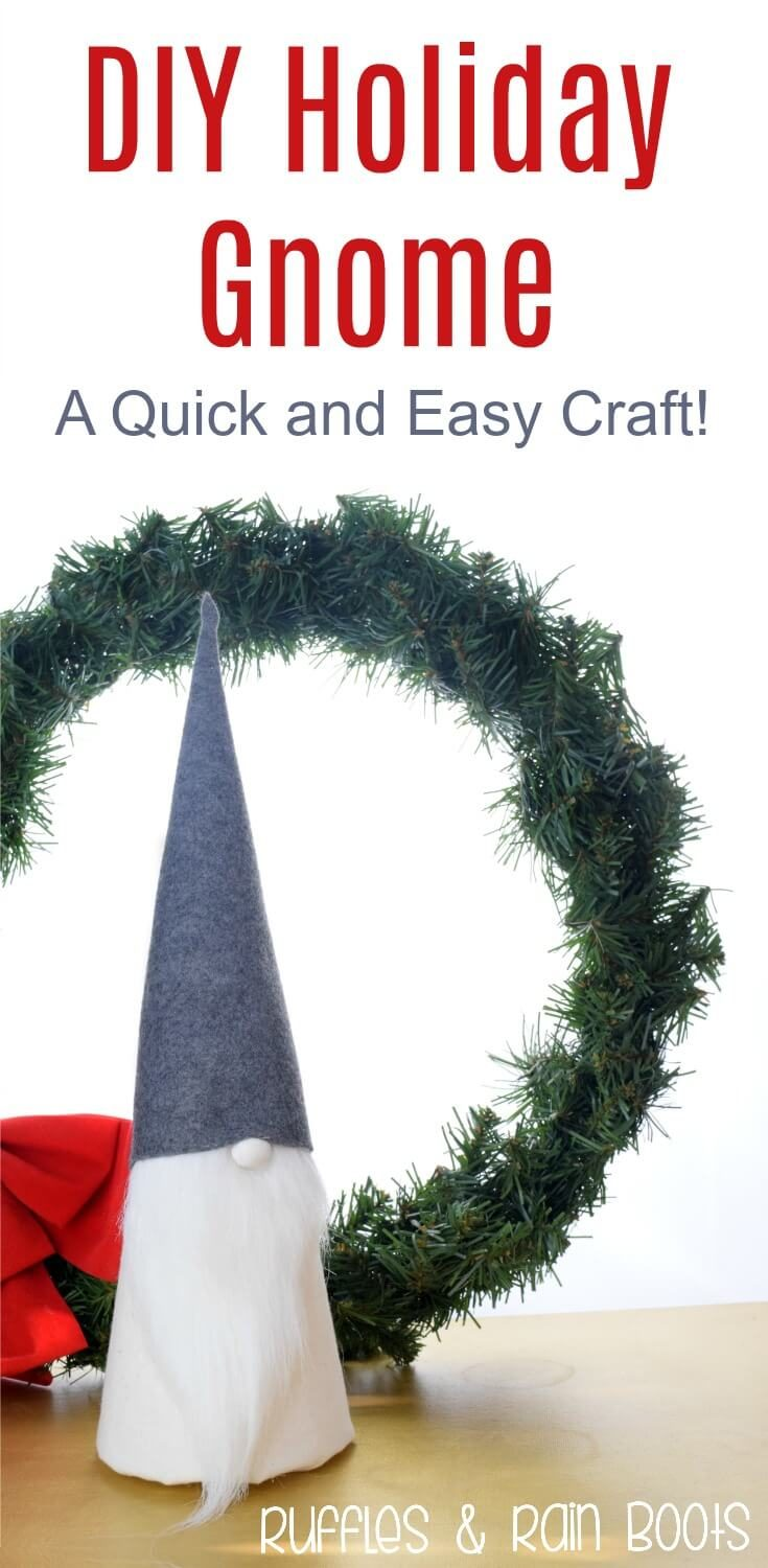 Make this easy DIY Christmas gnome for holiday decor. It has a cute button nose and fits in with any decorating style! #DIYcrafts #DIYholiday #handmadeholiday #Christmascrafts #hygge #rufflesandrainboots