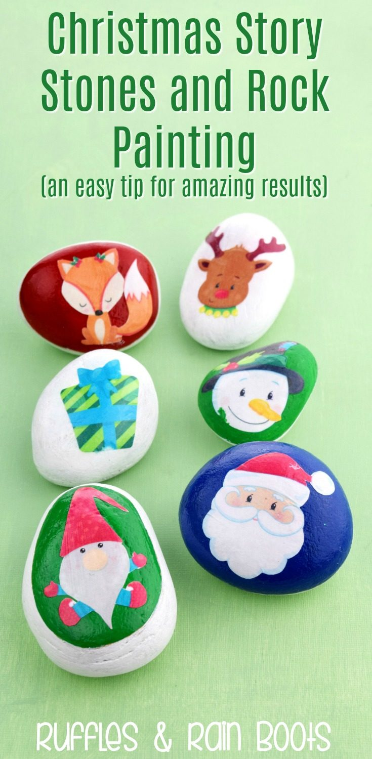 These colorful Christmas story stones are made using a cheat! You can have a ton of rock painting fun using this quick and easy tip. #rockpainting #rockpaintingideas #rockpainting101 #rockpaintingforbeginners #kindessrocks #kindnessrockideas #rufflesandrainboots