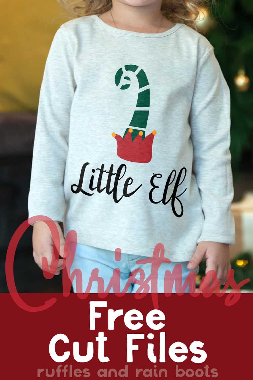 free christmas svg on a little girl's shirt with text which reads christmas free cut files