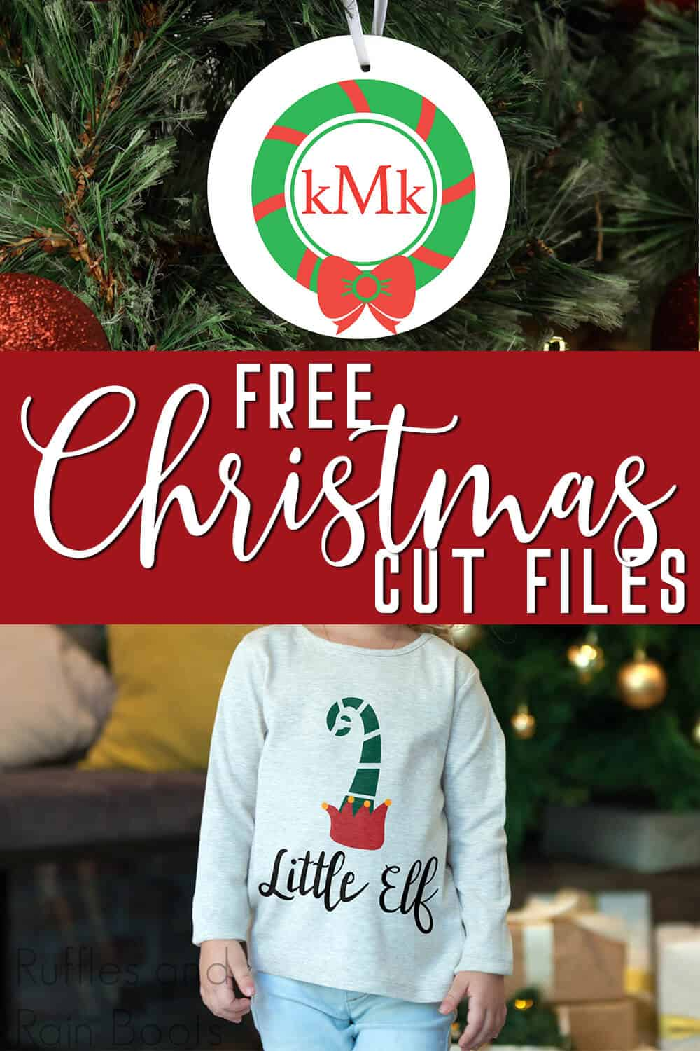 photo collage of free svgs for christmas with text which reads free christmas cut files