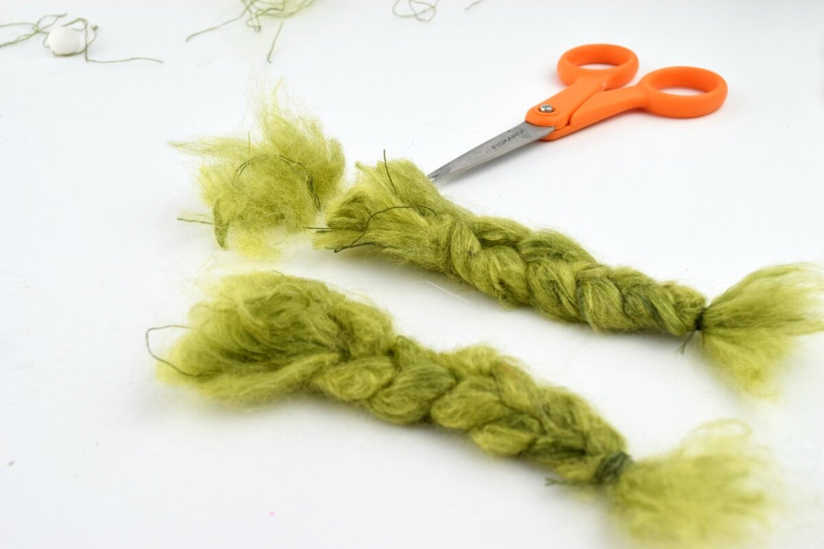 felted yarn to make gnome braids and gnome beards