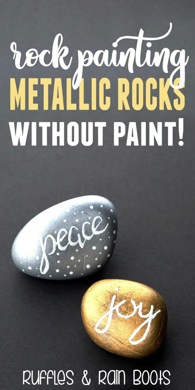 Beginner Tutorial Rock Painting Gold and Silver Metallic Rocks #rockpainting #paintedrocks #kindnessrocks