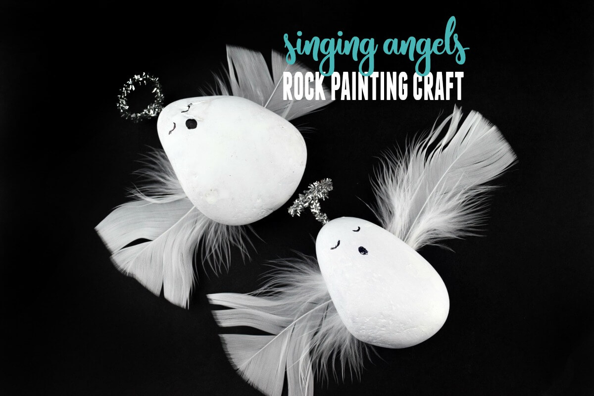 Set up this quick and adorable rock angels craft for the kids