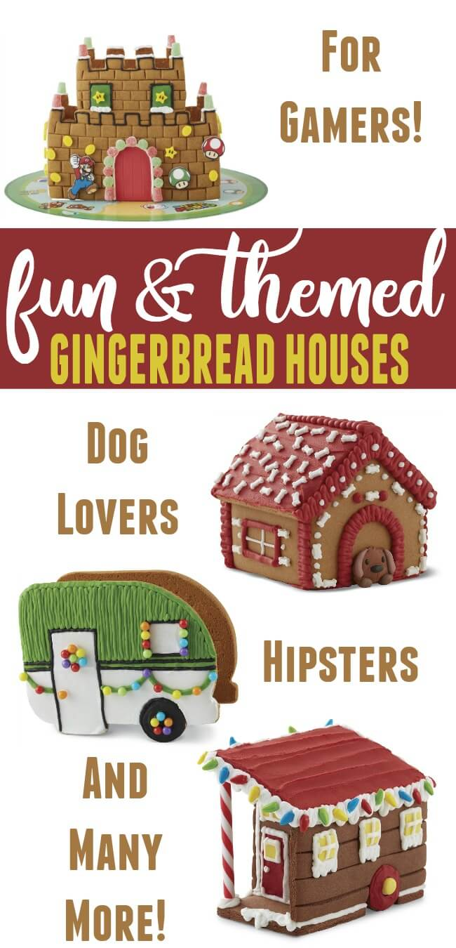 These fun and themed gingerbread houses for gamers dog lovers hipsters and Disney fans are sure to please! #Christmas #gingerbread #gingerbreadhouse #whiteelephantgift #inexpensivegiftideas