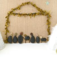 A Rustic Farmhouse Rock Nativity Canvas Craft