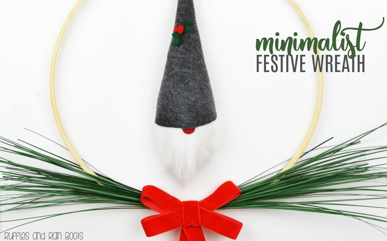 Scandinavian Minimalist Wreath with Gnome ornament makes a festive holiday decoration