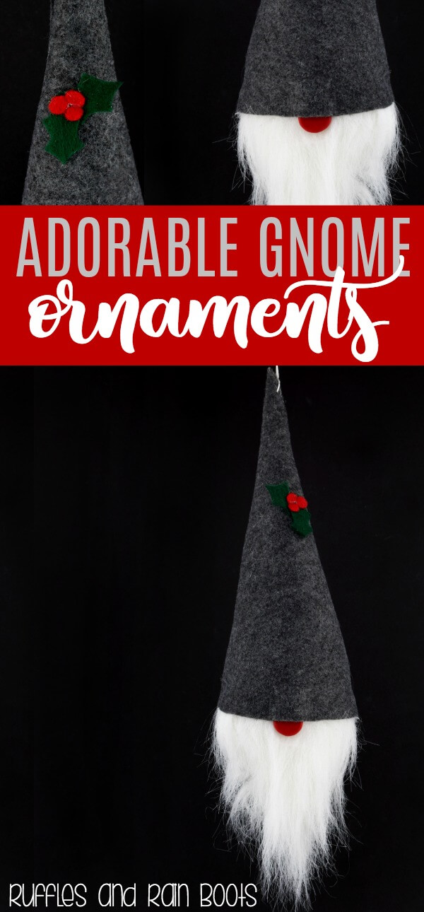 Learn how to Make an Adorable, Easy DIY Gnome Ornament for Christmas, Holiday, and Year-Round Decor #Christmas #gnomes #Scandinavian #holidaydecor #DIYornaments #Christmasdecor #holidaygnomes #rufflesandrainboots