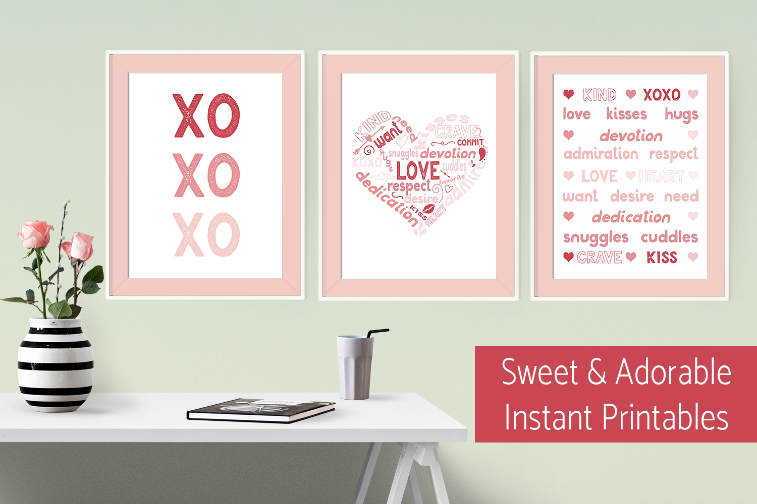 Sweet and Adorable Free Valentine's Day Printables for an instant decoration or card