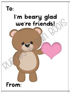 Free Woodland Animal Bear Valentine's Day Cards for Kids Classroom Printable