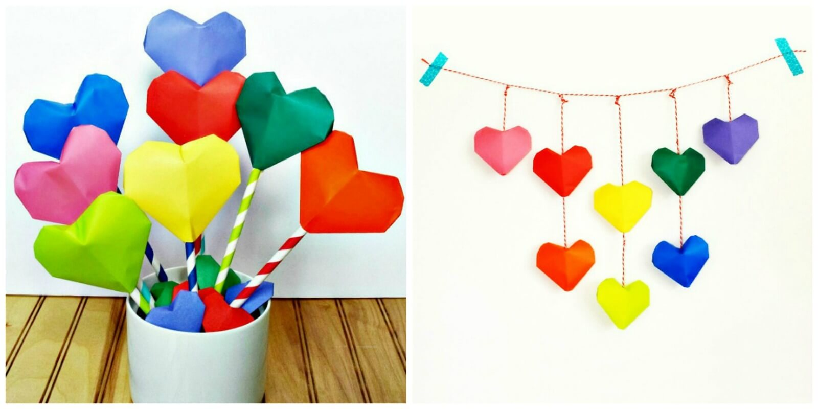 Make this adorable Origami Heart Bouquet or Origami Heart Garland for Valentine's Day